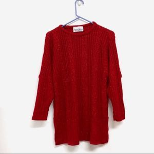 DVF Red Sparkle Cable Knit Long Sleeve Sweater